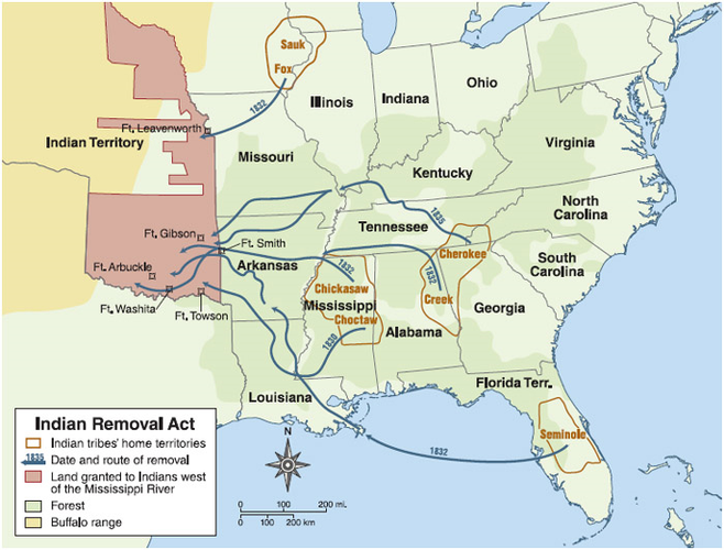 This map shows the relocation of the Seminole... | Sutori