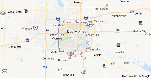 A map of Des Moines located in the state of Iowa. | Sutori
