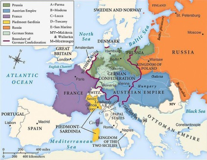 Map Of Germany Before Unification.Timeline Of German And Italian Unification Sutori