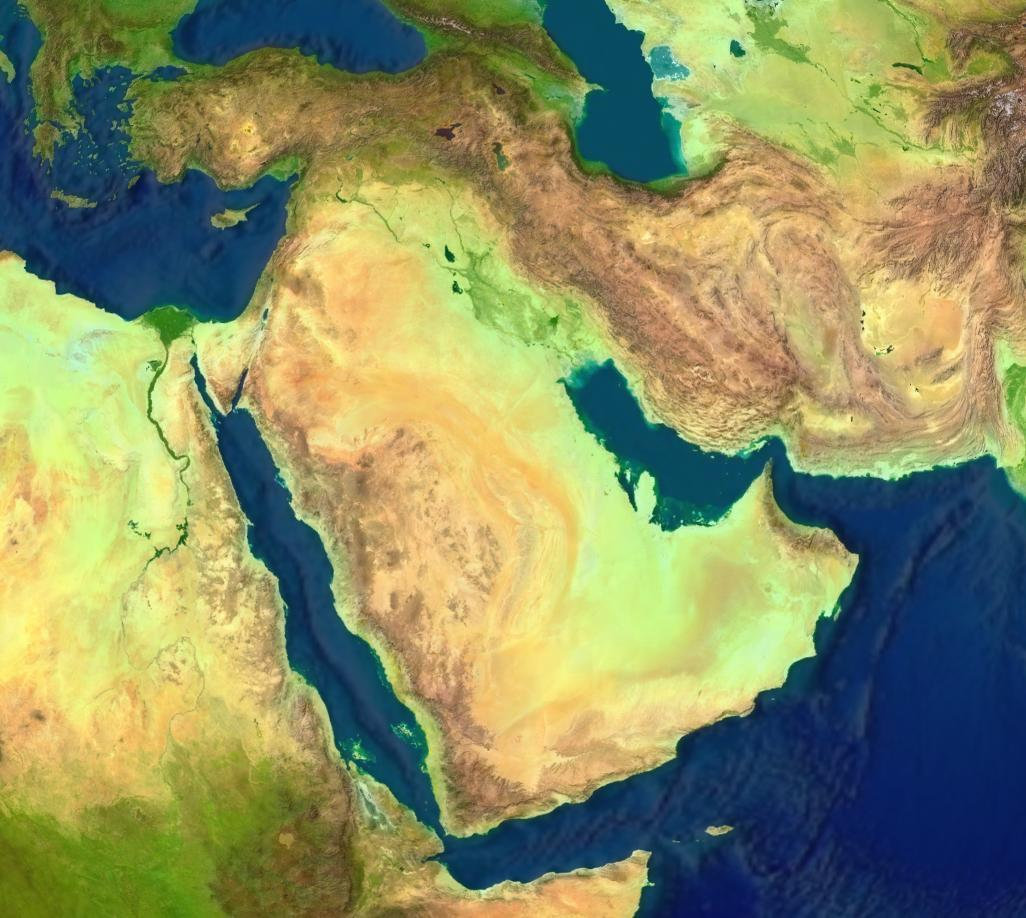 Quiz Here is a physical map of the Middle East, a... | Sutori