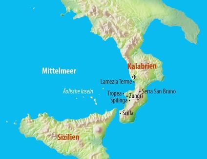 Cartina Fisica Della Calabria.La Calabria Sutori