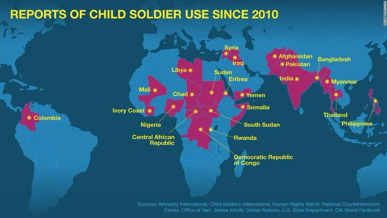 This map demonstrates the countries who use child   Sutori
