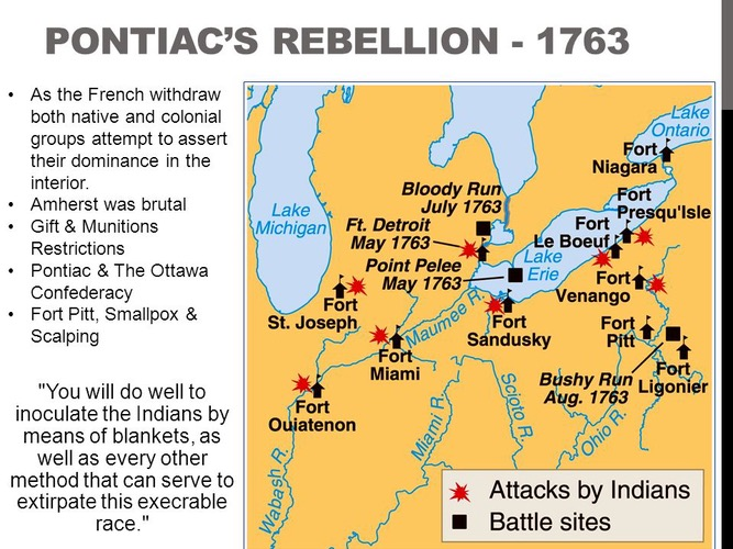 Pontiac's Rebellion A map of the British forts the... | Sutori
