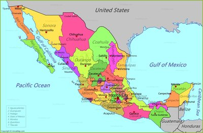 Usa And Mexico Map
