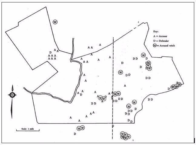 salem village salem witch trials map This Is A Map Of Salem Village In 1692 Sutori salem village salem witch trials map