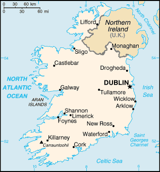 Map Of Ireland With Major Cities.Ireland Sutori